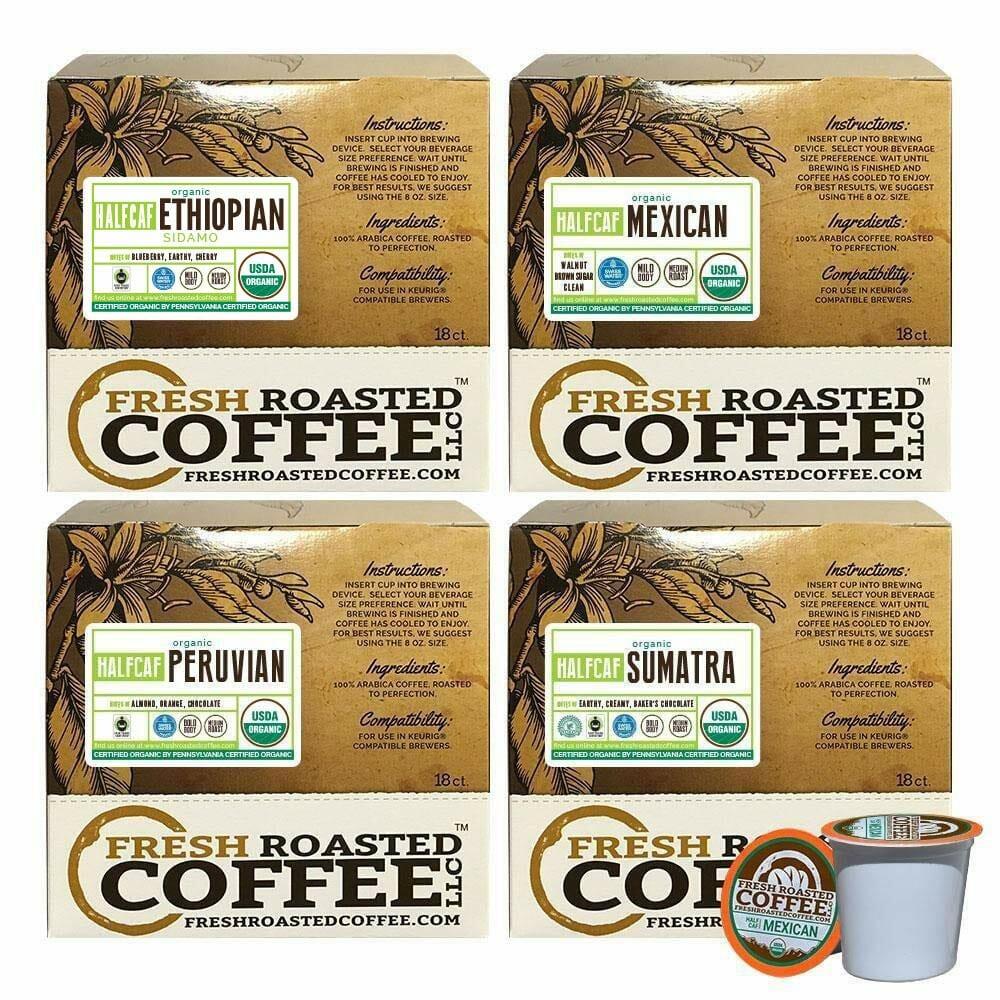 Fresh Roasted Coffee LLC, Organic Half Caff K Cups
