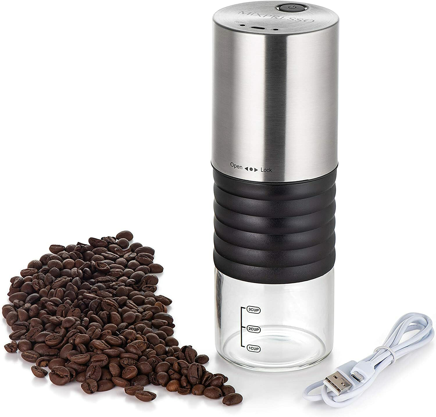 Mixpresso Battery Powered Coffee Grinder, USB Chargeable