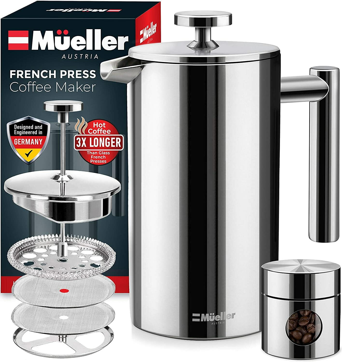 Mueller French Press Plastic Free Coffee Maker